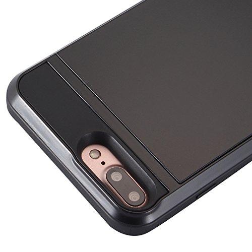 iPhone 8, 7 étui rigide, Verus® - emplacement secret de carte secret, style coulissant, housse de protection résistant aux chocs en argent Black