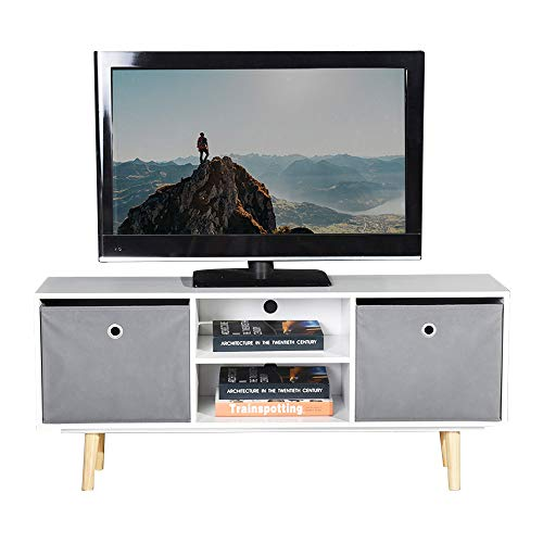 ASUUNY TV Unit, Modern TV Cabinet, TV Stand Storage Console, Media Unit with 2 Shelves and 2 Drawers for Living Room, Bedroom, White, ALTS
