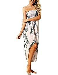 543c55bd999 LRUD Damen Bohemian Blumendruck Schulterfrei Knielang Strandkleid Schwarz  Weiß Sommerkleid Frauen…
