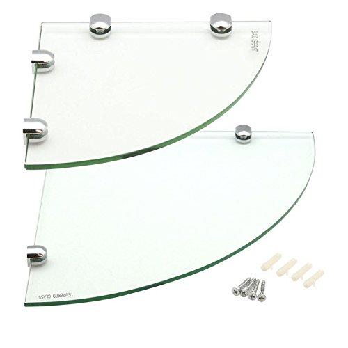 Harbour housewares mensole angolari in vetro, per bagno/camera da letto, 1 da 200 x 200 mm e 1 da 300 x 300 mm
