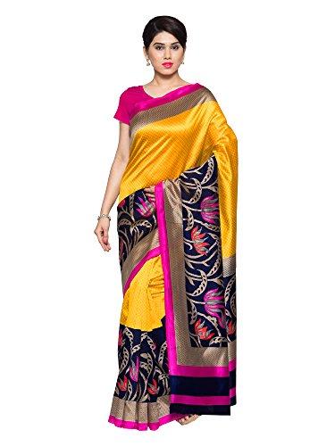 Oomph! Women's Art Silk Saree with Blouse Piece (rbks_Butter Yellow & Indigo...