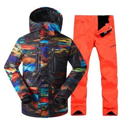 HXFNX Chaqueta De Invierno para Hombre Trajes Deportivos Conjunto De Esquí Chaqueta De Esquí para Hombre. Traje De Esquí para Hombre + Pantalones Snowboard,Color1