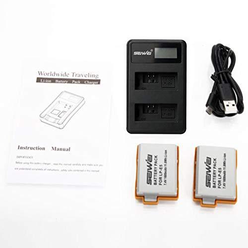 WEIWEITOE-DE 2 x LP-E5 1080mAh Akku LCD USB Dual Charger Kit für Canon für EOS 1000D 450D 500D 1000D Digital Rebel Xsi Ladegerät, schwarz, -