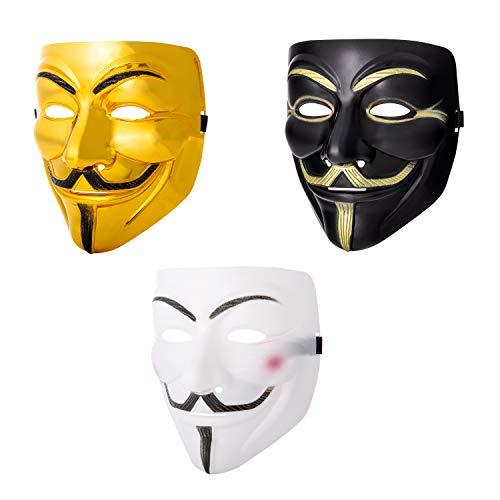 & Weiß Guy Fawkes Erwachsene Maske Hacker Anonymous V Wie Vendetta Gesichtsmaske Halloween Kostüm Elastischem Riemen Guy (3) ()