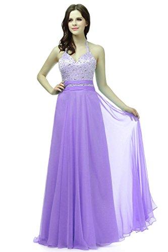 Vantexi Damen Wulstige Chiffon Lang Halfter Abendkleid Brautjungfernkleid Lavendel