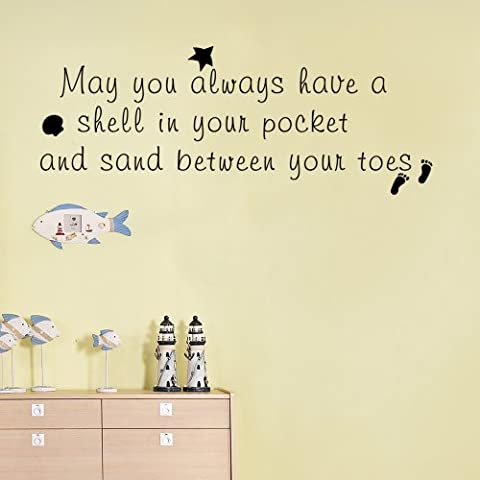 May you always have a shell in your pocket and sand between your toes - Beach Theme Vacation Kids Wall Decal Home Decor (Black, Medium) by WallsUp