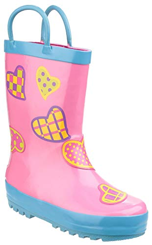 Cotswold Puddle Boot Girls Wellies Hearts Pink Multi - Hearts - UK Sizes 4.5-13
