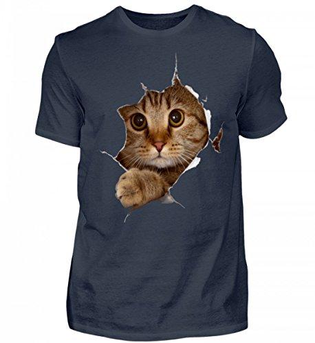 Shirtee Hochwertiges Herren Organic Shirt - 3D Katzen Design Tiefblau