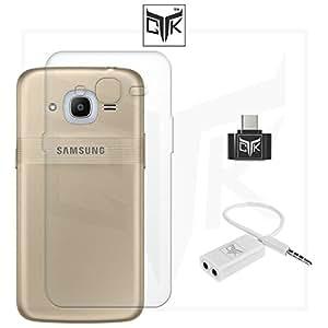 TheGiftKart™ Combo For Samsung Galaxy J2 - 6 (New 2016 Edition - J210) (Combo of 1 Back Cover + 1 OTG Adapter + 1 Audio Splitter) - TheGiftKart™ Ultra Clear Thin Soft TPU Transparent Back Cover + OTG Adapter + Audio Splitter (Not Compatible With Samsung Galaxy J2 - J200)