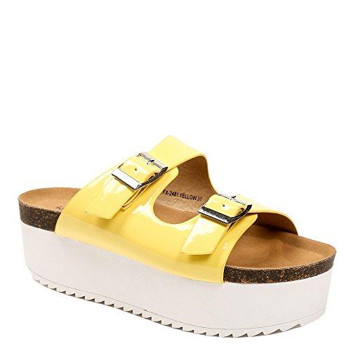 Ideal Shoes Nu-Pieds avec Semelle en Gomme Anahi Jaune