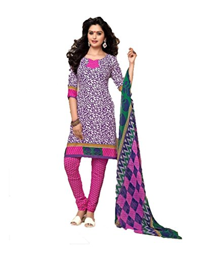 Vineberi Pretty And Stunning Unstitched Printed Crepe Purple And White Salwar Suit Dress Material  available at amazon for Rs.399
