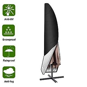 Aimego Sonnenschirm Abdeckung Schutzhülle, Ampelschirm Schutzhülle 265cm Schirmhülle Oxford Wasserdicht Schwarz