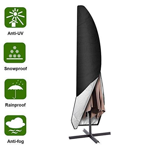 Aimego Schutzhülle für Ampelschirm, 265cm Abdeckung für Sonnen Sonnenschirm/Garten Sonnenschirm Abdeckung Oxford Wasserdicht, Schwarz