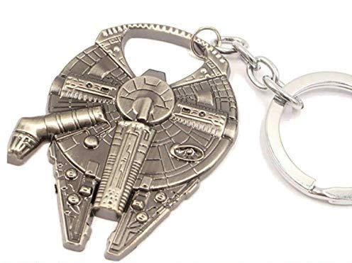 WOO LANDO Han Solo's Millennium Falke - Flaschenöffner in Raumschiff Optik als Schlüsselanhänger, Edelstahloptik 60x45mm, detaillierte Oberfläche, lustiges Geschenk für Familie und Freunde