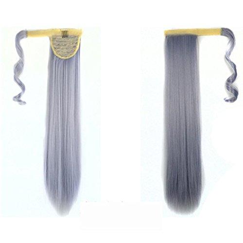 PINEsong Real Clip In Extensions Haarverlängerung Haarteil hitzebeständig glattbraunmix Hair Extension Straight Pony Tail Wrap Um Pferdeschwanz Human Hair Weaving Extensions (Grau) (Pferdeschwanz Kaufen Perücken)