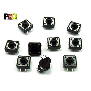 POPESQ® - 10 Stk. x Taster (12mm x 12mm) 7.3mm 4 polig THT Quadratisch / 10 pcs. x Momentary switch (12mm x 12mm) 7.3mm 4 way THT Square #A2100