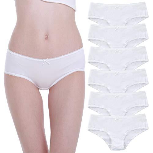 Falechay-Unterhosen-Damen-Baumwolle-Unterwäsche 6er Pack Slips Hipsters Spitze Panties Höschen Weiß L