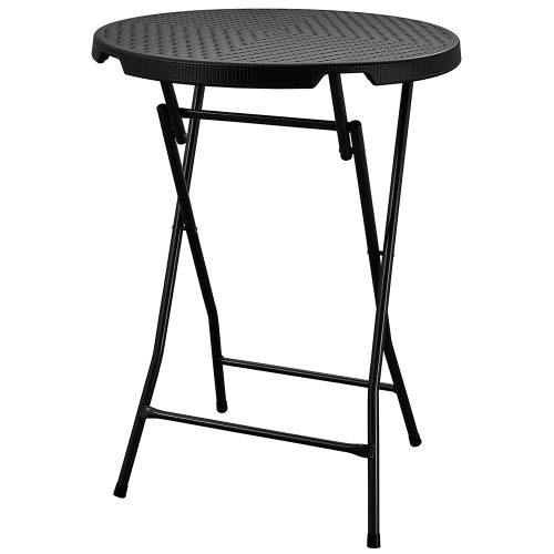 Interouge Mange-Debout Table de Bar Cocktail 80cm polyéthylène Effet résine tressée Noir