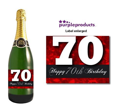 Red happy 70th birthday champagne bottle label celebrazione regalo per donne e uomini.