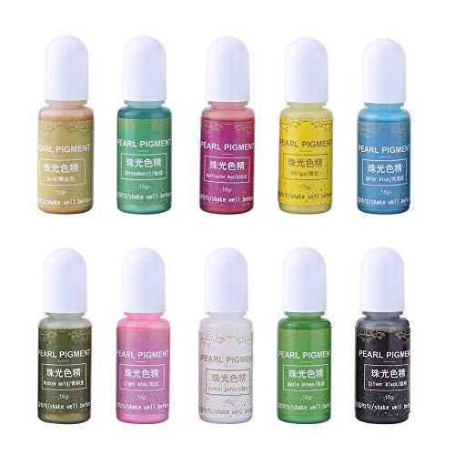 Pigmento di colore resina UV, 10 colori 10g resina epossidica liquida resina UV colorante colorante pigmento colorante per gioielli fai da te fare artigianato decorazione nail art(#A)