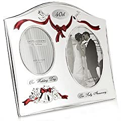 Idea Regalo - The Emporium Home - Cornice placcata in argento per 40° anniversario di matrimonio, 2 vani