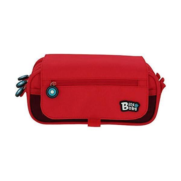 Grafoplás Bits & Bobs, Estuche Escolar Triple con Solapa, 23x10x10cm, Rojo