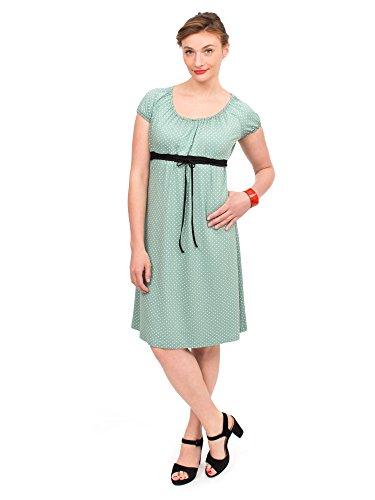 *Viva la Mama I 3in1 Kleid für Schwangere im Retro Look Rockabilly I Kleid zum Stillen Umstandsmode Damen I ELLI – grün Punkte – S*