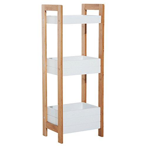 Homcom Badregal Korbregal Standregal Badezimmer Regal Bambus 3 Staufächer Weiß