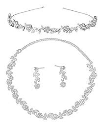 LEORX Diamantes de Imitación Boda Nupcial Decoración Joyas Set Tiara Collar Pendientes (Plata)