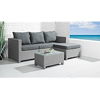 outliv gartenlounge polyrattan luna lounge set flachgeflecht grau kissen silbergrau. Black Bedroom Furniture Sets. Home Design Ideas