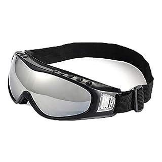 SonMo Motorrad Brille Arbeitsbrille Schneebrille Sportbrille Skibrille Radbrille Snowboardbrille TPU+PC Silber Skibrille für Brillenträger Herren Blendschutz mit UV Schutz Windschutz