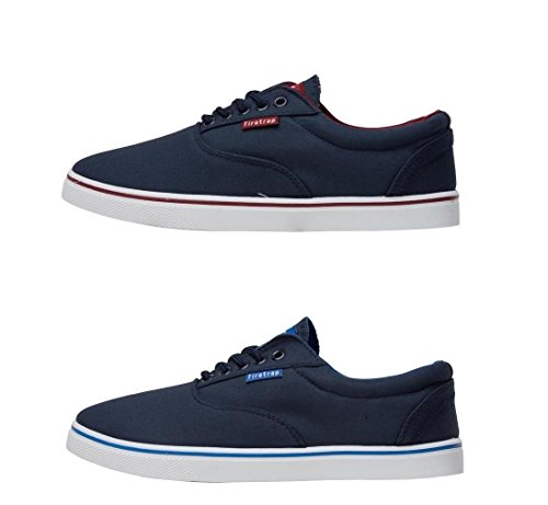 Firetrap Homme Chaussures de sport Mens Canvas Shoes Murphy Lace Up Pumps Casual Shoes Navy New Navy/Red