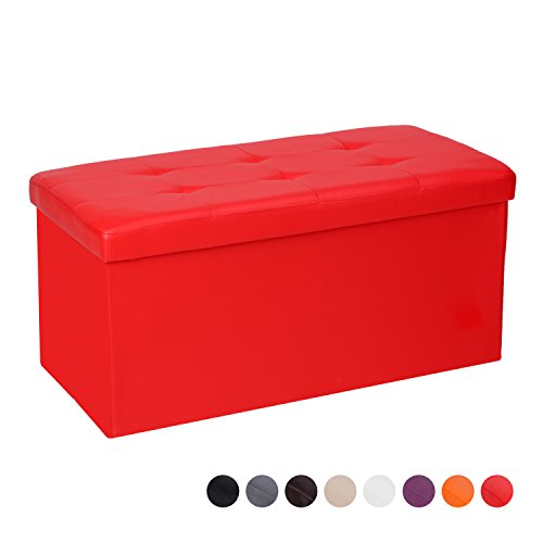 Cclife pouf puff poggiapiedi sgabello contenitore cassapanca pieghevole 85 x 40 x 40 cm, colore:rosso