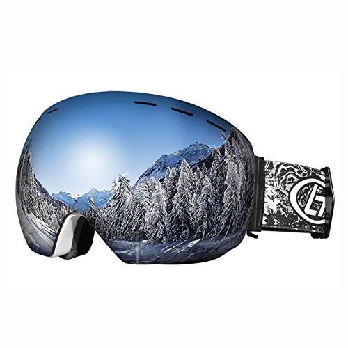 GLEI-TK Ski-Brille, Snowboard Goggles UV-Schutz, Snow Goggles Helm kompatibel für Männer Frauen Jungen Girls Kids, Anti Fog OTG
