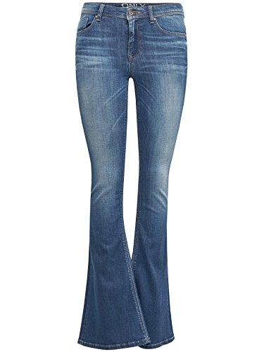 Only Mujer Impacto-Pantalones vaqueros Gigi REG SK Retro Flared Rea 9239 Mittelblau 27W x 34L