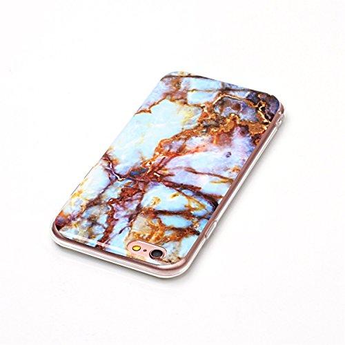 iPhone 6S Hülle Marmor, iPhone 6S Marble Case,iPhone 6 Weich Silikon Handyhülle,Lifetrut Marmor Design Soft Rückseite Stoßstange TPU Gummi Silikon Skin Tasche für iPhone 6S 6 [Jade Weiß] E203-Blau