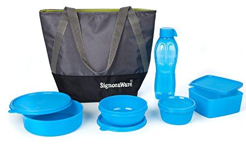 Signoraware Sling Jumbo Plastic Lunch Box Set, 5 Pieces, Blue