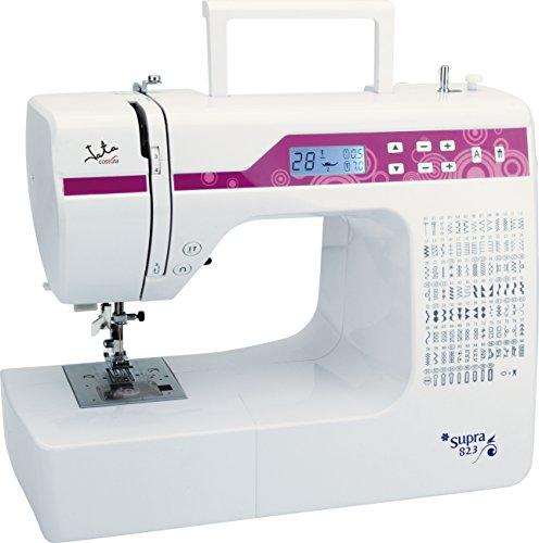 Jata Máquina de coser MC823 -  200 diseños de puntada, Visor LCD con luz, Canilla oscilante, Doble aguja, Con pedal, Juego completo de accesorios