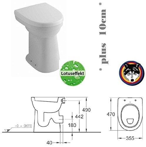 Keramag Allia Paris Care Standflachspül WC Stand Flach erhöht +10cm Lotusclean + Haro WC Sitz