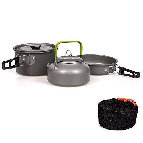 Ecent Set da cucina con bollitore da campeggio per campeggio, barbecue, picnic all\'aperto