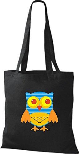 ShirtInStyle Jute Stoffbeutel Bunte Eule niedliche Tragetasche mit Punkte Owl Retro diverse Farbe, schwarz