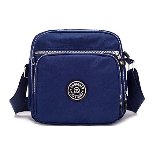 Tiny Chou - Borsa Messenger leggera e impermeabile, in nylon, con tasche Blu (Blu navy)