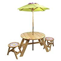 Fantasy Fields Kids Wooden Outdoor Table and Chair Set with Parasol Umbrella - Magic Garden