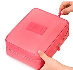 Di Grazia Travel Pouch, Makeup Cosmetics Kit Toiletry Organizer Bag -Pink