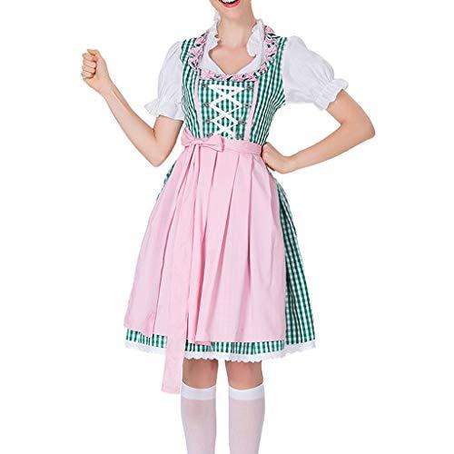 Cwemimifa Kleid Dirndl Damen Midi für Oktoberfest, mit Schürze und Bluse, Frauen Bier Festival Kleid Bayerisches Bier Festival Cosplay Kostüme, Grün, M (Designer Fancy Dress Kostüme)