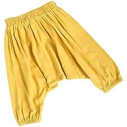 Byqny Suaves Sólido Pantalones Harem Cintura Alforzada Bohemio Aladdin Verano Trajes Ropa Niños Niñas Bebé(1-3 Años de edad)