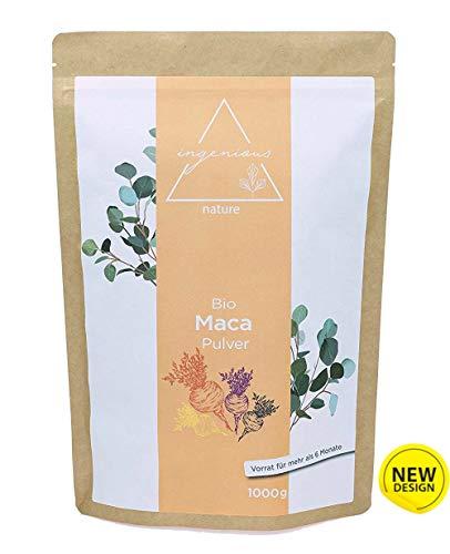 ingenious nature laborgeprüfter Bio Maca Pulver Mix 1000g - aus den vier Maca Sorten gelb, rot, lila und schwarz, roh, aus Peru. Angebaut auf über 4400m. Vorrat für 200 Tage.