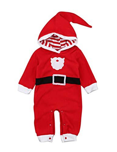 BESBOMIG Babys Mit Kapuze Mantel Weihnachten Junge Mädchen Bodys Spielanzug - Lange Ärmel Overall Spielabnutzung mit Schöne Muster -