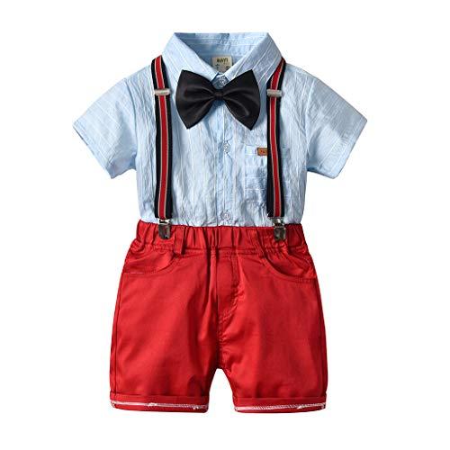Huhu833 Neugeborenes Baby Kleidung Set Junge, 4 stücke Sommer Kleinkind Jungen Kurzarm Hemd Tops + Shorts + Fliege Casual Gentleman Festliche Outfits Anzüge -
