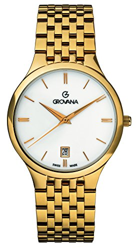GROVANA 2013.1113 Men's Quartz Swiss Watch with White Dial Analogue Display and Gold Plated Stainless Steel Bracelet